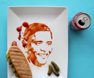 Portrete făcute din... mâncare! E incredibil ce poate să facă din unt, ketchup şi piper